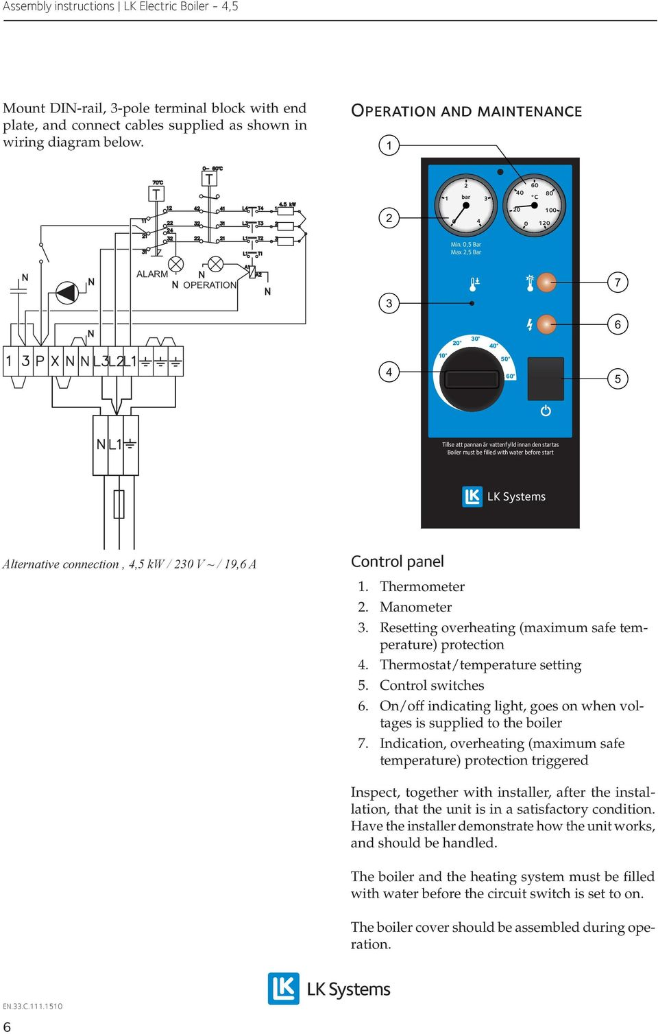 panel. Thermometer. Manometer. Resetting overheating (maximum safe temperature) protection. Thermostat/temperature setting. Control switches 6.