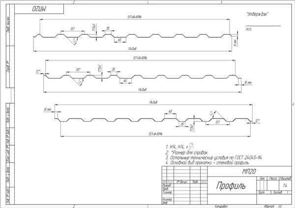 профнастил мп20 технические характеристики